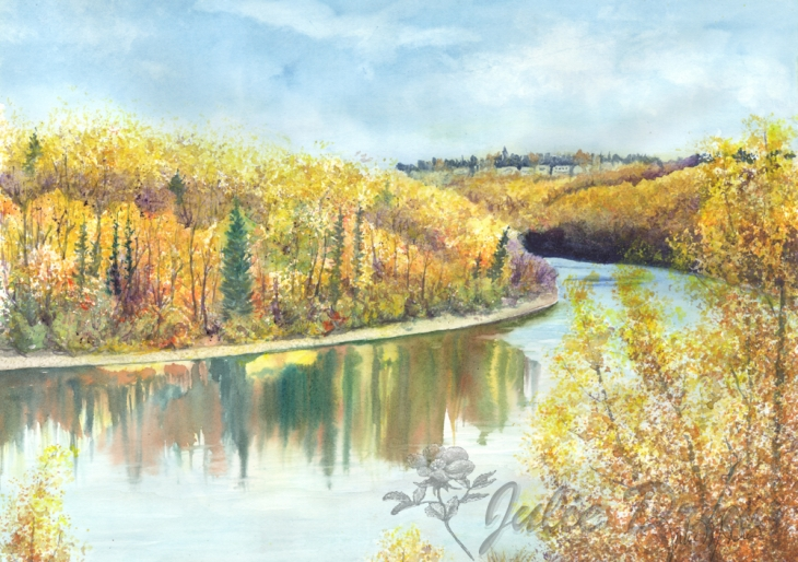 Painting of the North Saskatchewan River West of Downtown Edmonton