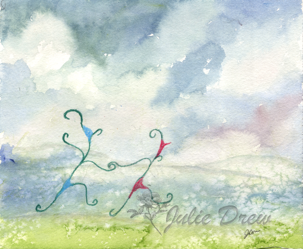 Dancing Together, Watercolor and Color Pencil by Julie Drew