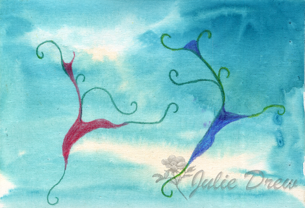 Leaping for Joy, Watercolor and Color Pencil by Julie Drew