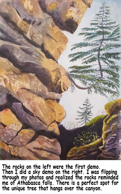 athabasca pine tree, 11 x 7 in, mixed media, Julie Drew