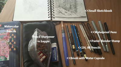 sketching supplies of artist Julie Drew