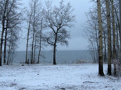 pigeon lake with snow