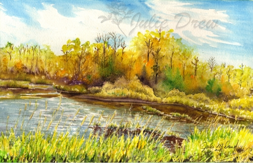 Elk Island in Fall Colors, watercolor