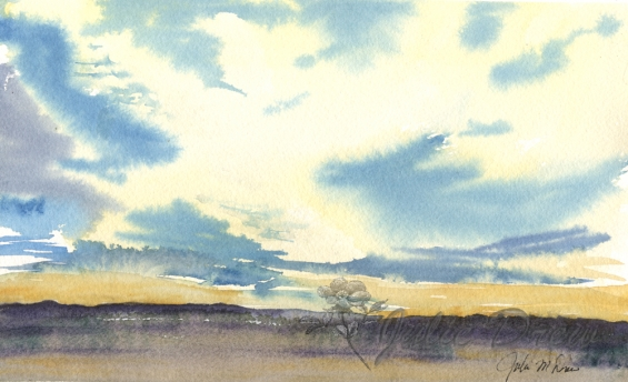 On the Wings of the Morning, Watercolor,