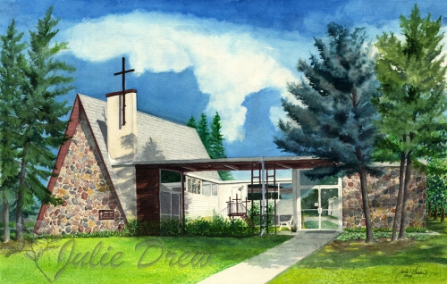 Cross of Christ Lutheran Church, watercolor Commission