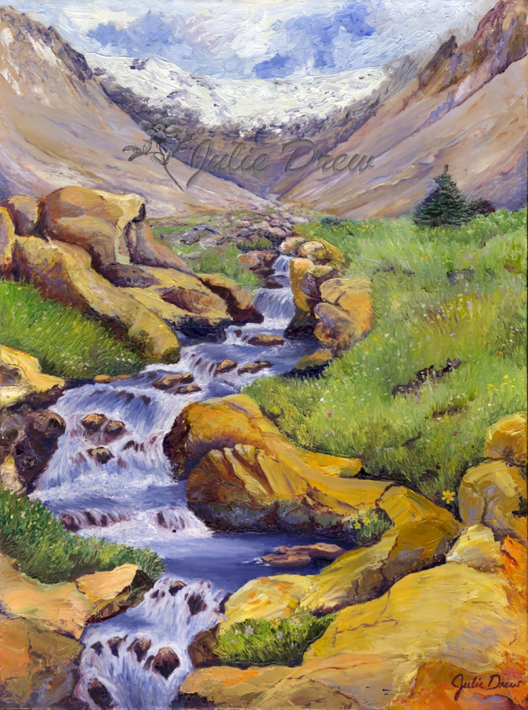 Alpine Meadow, oil painting, Living Water Series