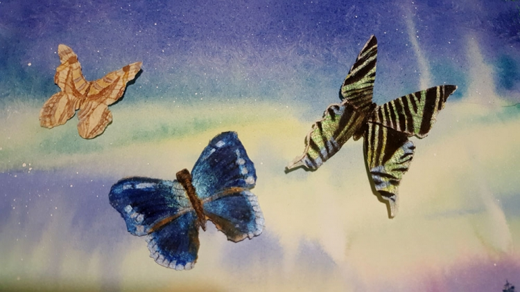 Handmade Paper, watercolor and ink butterflies on watercolor