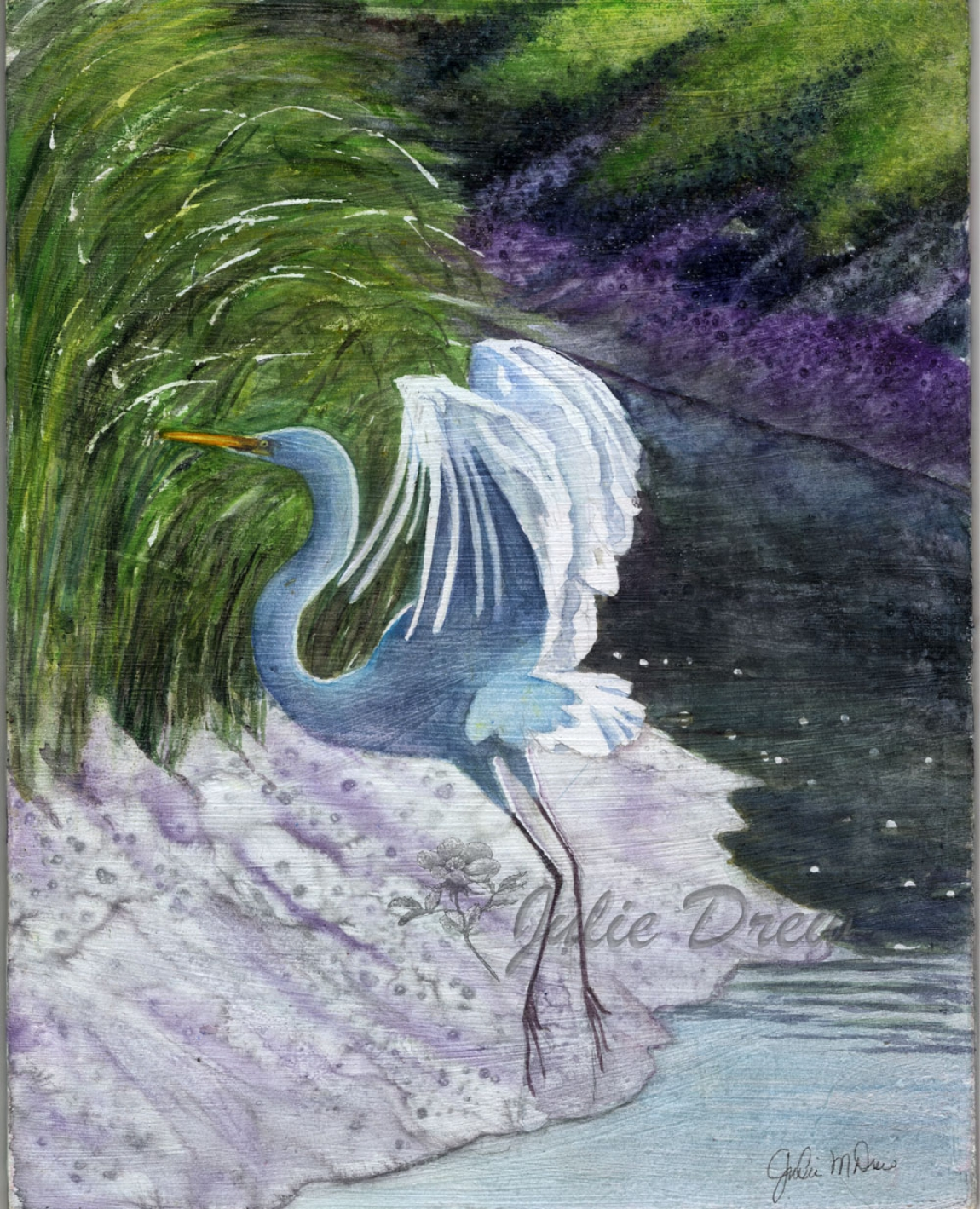 Egret Landing, Watercolor on board, 7 x 9 in, artist, Julie Drew