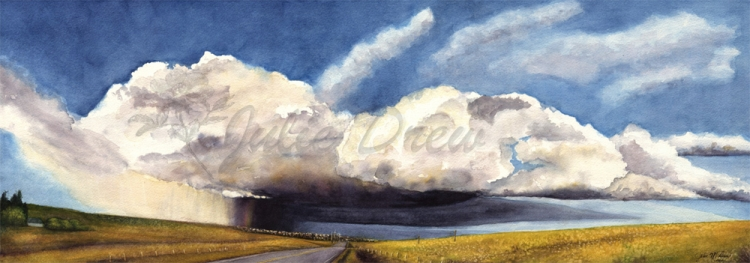 Prairie Storm, Watercolor, Prints available