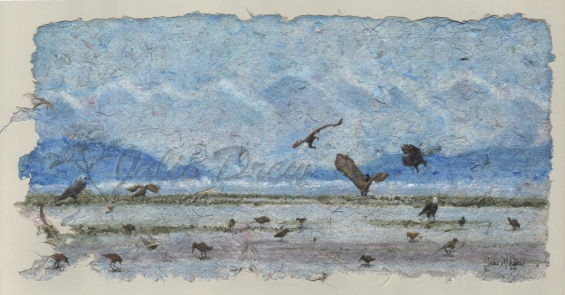 Feathered Frenzy, Watercolor on handmade paper with feathers, 8 x 12 in