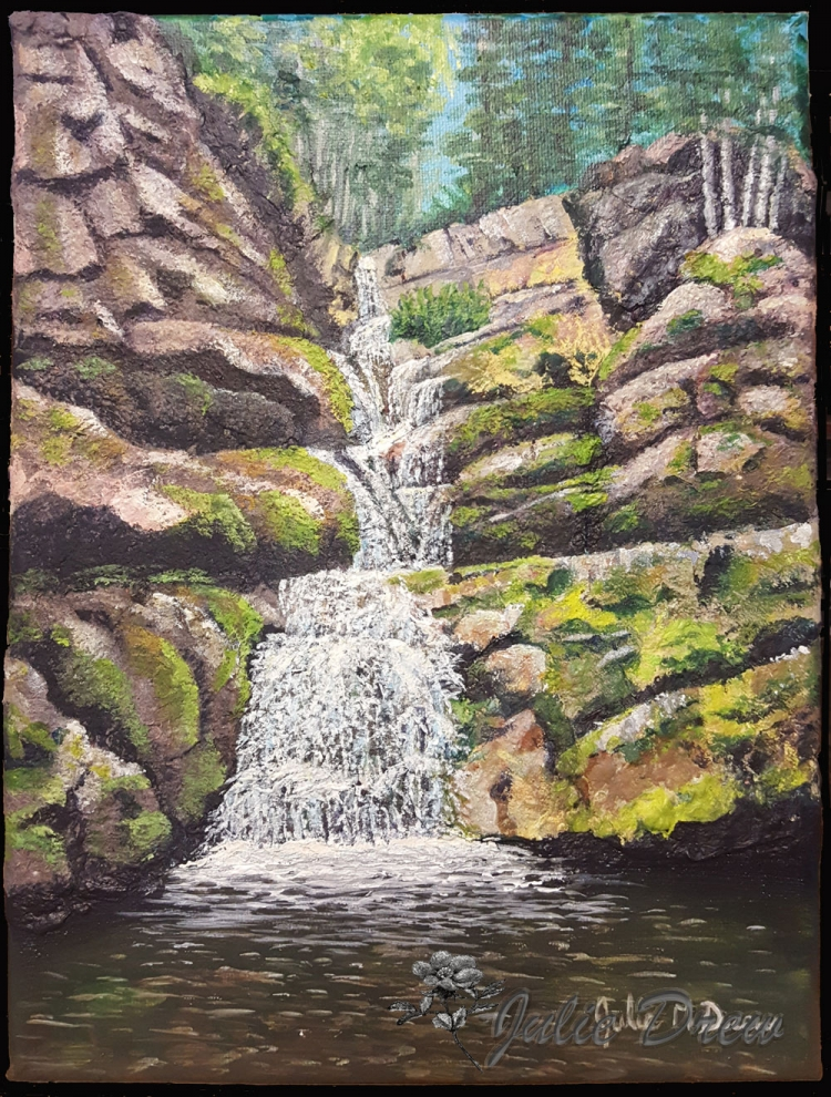 Upper Troll Falls, Handmade Paper and Acrylic on Canvas, 12 x 9 in, Julie Drew