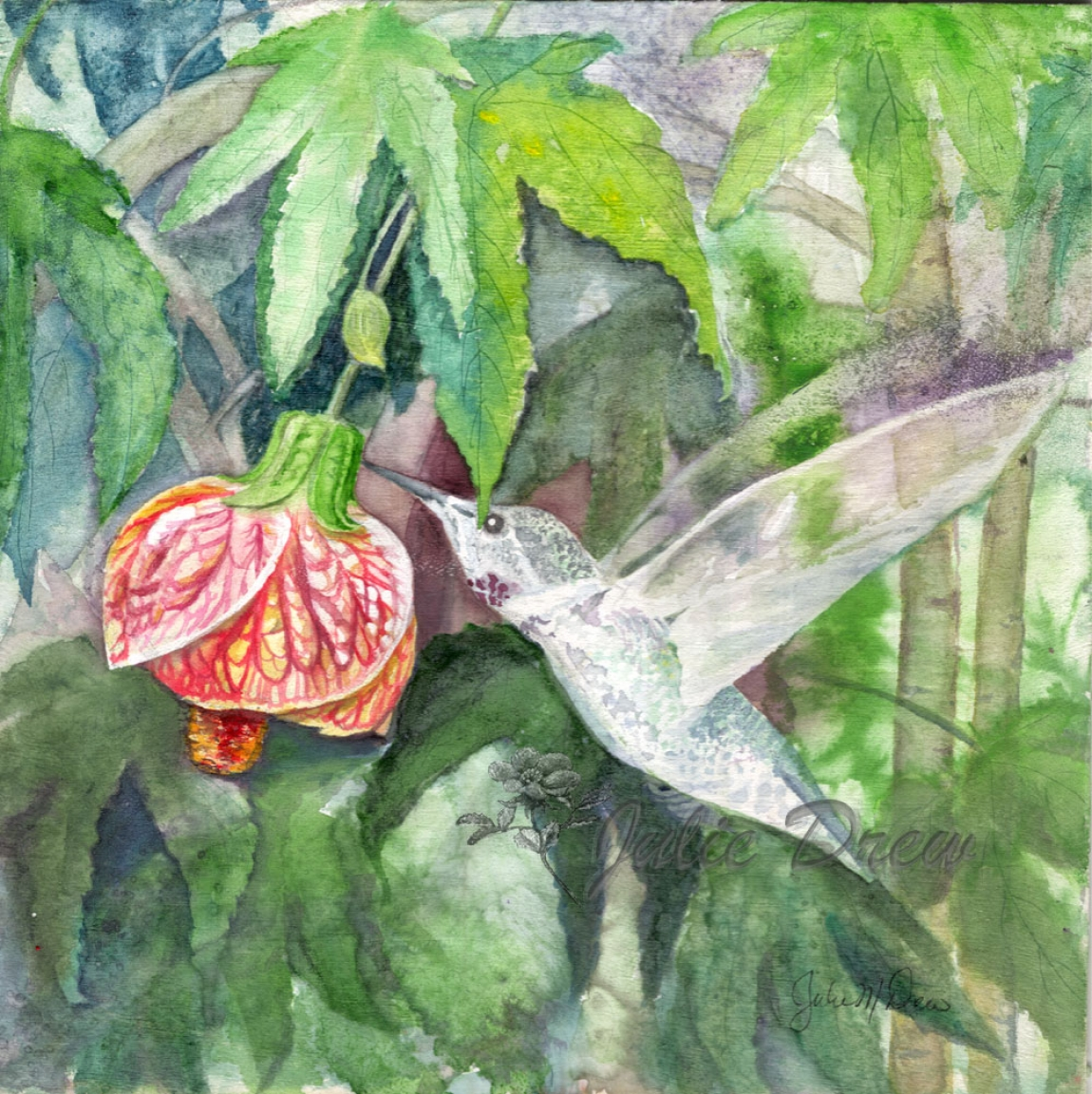 Dart in for a Taste, 7 x 7 in, Watercolor on Pine, artist Julie Drew