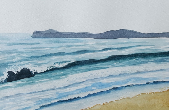 Ocean Demo from Watercolor 1 & 2 class, City Arts Center in Terwillegar