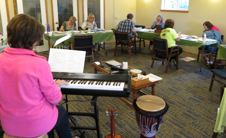 Friday Evening of the retreat. Linnea Good played her piano as we painted response paintings.