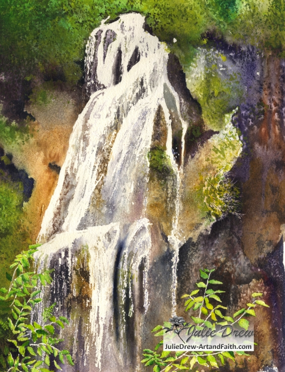 "Veliki Slap, ""Big Waterfall,"" 14 x 11 in, watercolor"