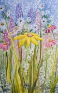 """Dance of Spring 1,"" Wildflowers in watercolor,"