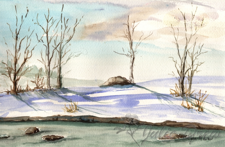 Hope For Spring, Watercolor, Landscape Series