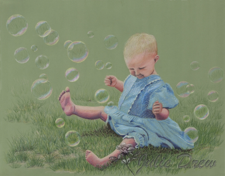 Bubbles, Color Pencil Painting,