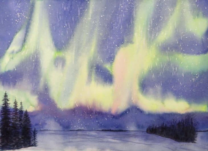 Northern Lights in Watercolor Workshop