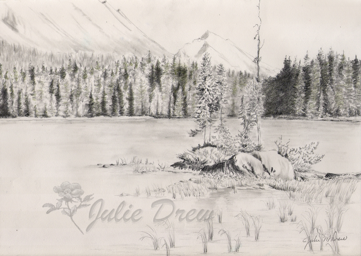 Sketch of Honeymoon Lake, Jasper,